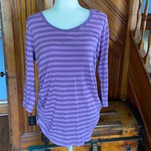 Purple striped maternity tunic